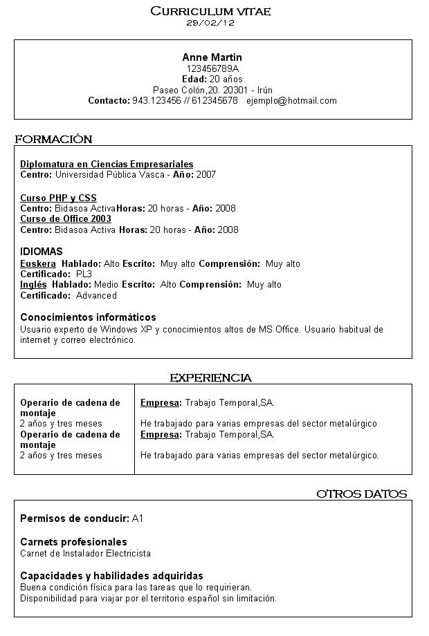 Bidasoa Activa: CV